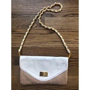 Aldo white and tweed clutch/crossbody purse!
